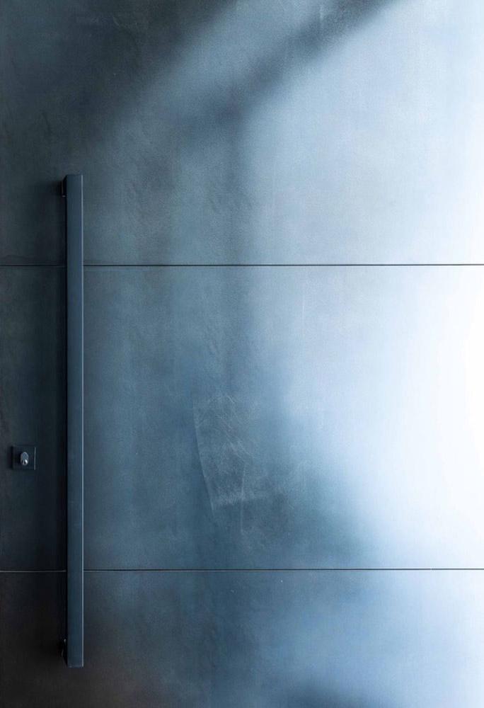 Axolotl Metal Door Blackened Steel with Horizontal Lines