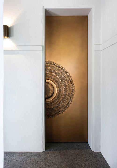 Axolotl Splice Metal Door Gold Bronze Florentine
