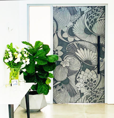 A Florence Broadhurst Metal Front Door in Pewter and Graphite