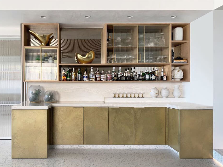 Metal Kitchen Cabinets coated with Axolotl Bronze Pearl