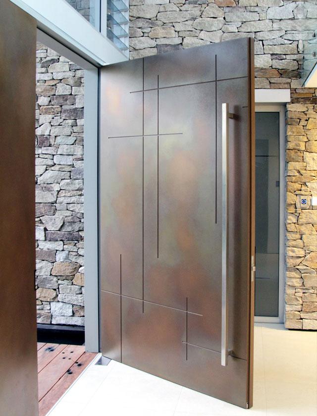 Axolotl Metal Door Copper Florentine in Crosshatch Design