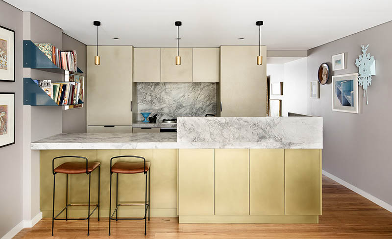 Brass and Shale Coated Kitchen Cabinets
