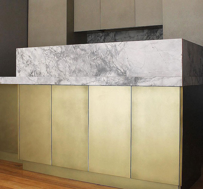Brass and Shale Cabinets Close-up