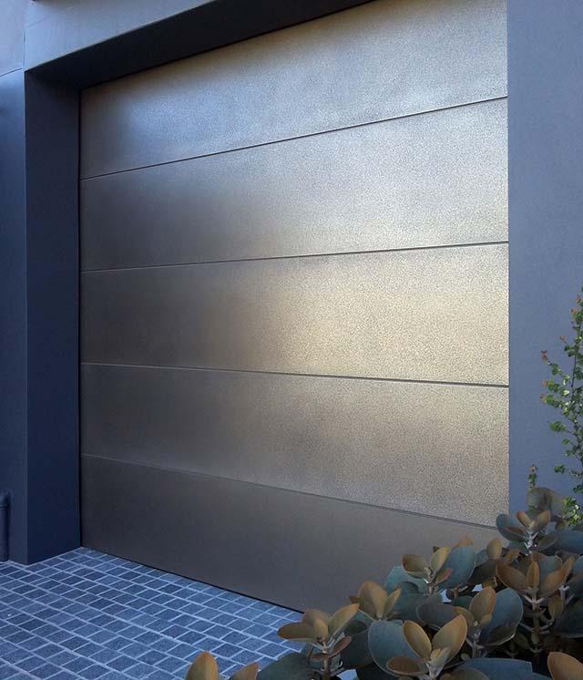 Pitted Nickel Finish Garage Door